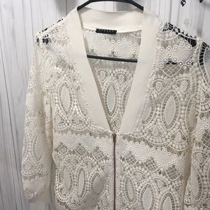 Off white lace zip up